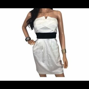 New Teeze Me Strapless Dress White Black Small S 5